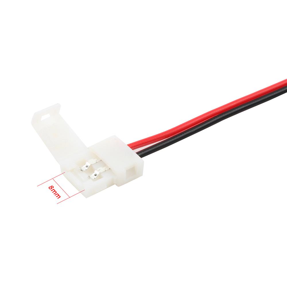 5X 8mm 2Pin einfarbig LED Strip Leiste Schnell Verbinder Adapter mit Kabel NEU
