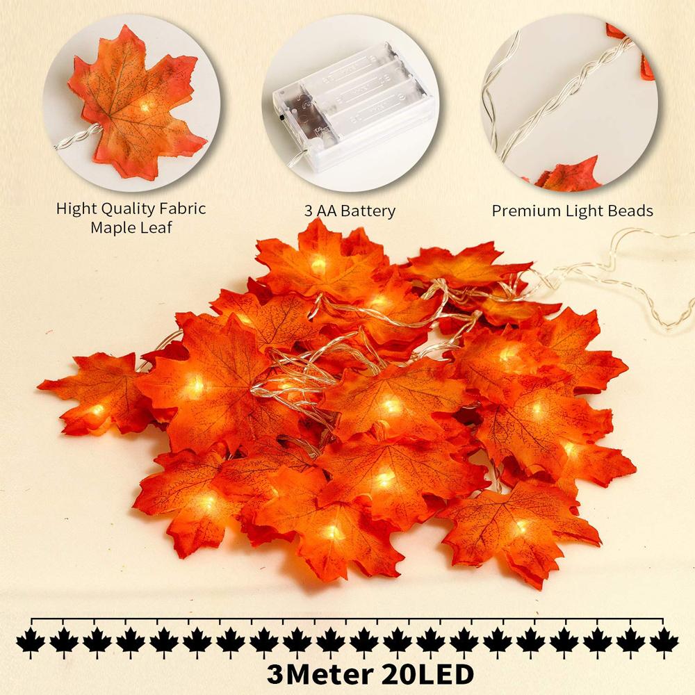 DC 5V 3M USB Maple Leaf Garland String Lights Warm White for Christmas Halloween