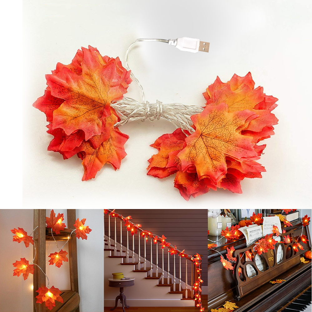 10 LED Hanging Fall Maple Leaf Fairy Lights String Autumn Leaf Garland Wedding